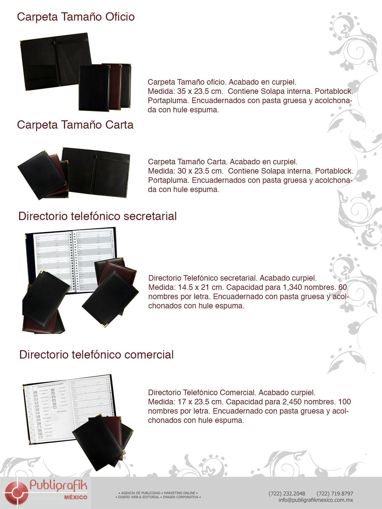 catalogo de agendas y carpetas